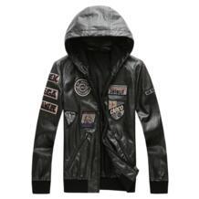 Повседневная Короткая кожаная куртка с капюшоном мужская мотоциклетная куртка пилот ВВС куртка-бомбер мужская модная брендовая одежда высокого качества GOUHAI 32838214779