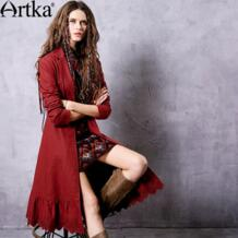 Женская Осенняя коллекция 2018 года, бордовая вышивка, шнуровка, Тренч, винтажный отложной воротник, длинный рукав, оборки, подол, пальто FA11563Q Artka 32787193244