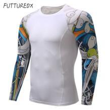 Для мужчин s Фитнес 3D печать с длинным рукавом Велоспорт базовых слоев Для мужчин кожу жесткой термосвитера сжатия рубашки ММА тренировки базовых слоев FUTUREOX 32931450852