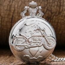 2016 новинка серебро кварц античный кулон цепи карманные часы двигатель CycleMotor велосипед для мужчин и женщин YISUYA 32294410760