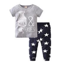 Новинка 2019 года, летняя одежда для маленьких мальчиков, хлопковая Футболка с принтом бутылки + штаны, Одежда для младенцев, комплект одежды для маленьких девочек, костюмы из 2 предметов для новорожденных EGHUNOOY 32787682083