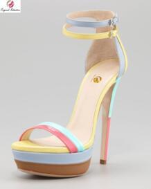 Оригинальный дизайн; стильные разноцветные женские босоножки; красивые туфли на высоком тонком каблуке с ремешком и пряжкой; большие размеры США 4-20 Original intention 32548259129