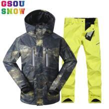 Brand лыжный костюм Мужская лыжная куртка брюки зима Mountain Лыжный Спорт костюмы мужской Водонепроницаемый сноуборд наборы уличная спортивная одежда Gsou Snow 32839642441