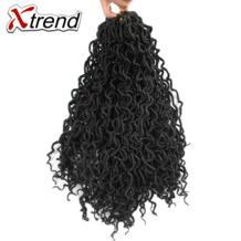 Xtrend искусственная locs вьющиеся крючком кос твист Синтетические волосы 18 дюймов 24 корни Высокая Температура Волокно волос черный Цвет No name 32844113364