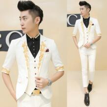 Мужские белый костюмы для свадьба жених вилочная часть приталенный Fit золото вышитая жилет половина рукав пиджак брюки 3шт / комплект No name 32338616050
