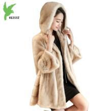 Новые модные зимние Для женщин искусственная Меховая куртка пальто одноцветное Цвет с капюшоном норки Меховая куртка s Plus Размеры женский Изящная верхняя одежда OKXGNZ 32828600613