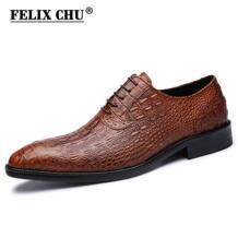 Роскошные итальянские для мужчин свадебные черные кружево до Оксфорд пояса из натуральной кожи крокодиловый принт вечерние бизнес мужск Felix Chu 32787467283