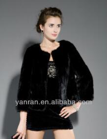 Новая мода yr640 Подлинная лом норки меховая куртка черного цвета/черный реального норки пальто с мехом No name 1871521508