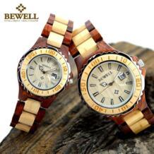 100B пара кварцевые деревянные часы для мужчин и женщин ручной работы Легкий отображение даты модные часы Подарочная коробка и Часы инструменты Bewell 32741027258