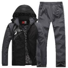 Теплый спортивный костюм для мужчин с флисовой подкладкой карман на молнии s комплект спортивной одежды термальность Зима Открытый Green Season 32817044541