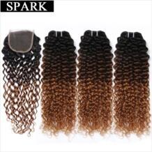 эффектом деграде (переход от темного к бразильские Кудрявые Волнистые человеческие волосы пучки волос с закрытием кружева бесплатная часть 1B/4/30 Волосы remy 3 Связки с закрытием Spark 32833805376