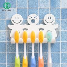 Симпатичные наборы для ванной Мультфильм присоска всасывания крючки 5 зубная щетка держатель экологически чистые смешной улыбающийся лицо Зубная щетка стенд No name 32821787451