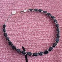 Новое поступление натуральный сапфир цепи браслеты, черный Сапфир ювелирные изделия с 925 серебряный браслет из звеньев для женщин No name 32365155054