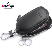 бренд коровьей кожаный держатель для ключей для мужчин женщин ключи держатель кошелек ключница ключи Организатор молния брелок сумка BoPAi 32818822334