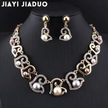 Африканские Украшения jiayijiaduo модные свадебные украшения коллекция золотого цвета имитация серьги из жемчуга красивые женские модные подарки Jiayi Jiaduo 32671058877