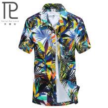2018 Летний стиль Для мужчин S полиэстер рубашка Для мужчин Повседневное короткий рукав Цветочный принт пляжная рубашка с лацканами мужской пляж Camisas St20 Raise Trust 32388429997