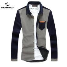 Мужская модная повседневная футболка с длинными рукавами вельвет шить 2017 Осень и зима новый самосовершенствование рубашка с лацканами SHAN BAO 32413129304