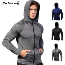 Для мужчин молнии с капюшоном тренировки одежда с длинным рукавом быстросохнущая Activewear работает спортивная Фитнес баскетбол обучения куртка бег трусцой Laivaors 32853420052