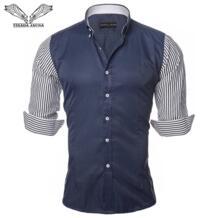 европейский размер Мужская рубашка мужская мода рубашки Повседневная облегающая полосатая с длинными рукавами хлопок Camisa Masculina N87-in Повседневные рубашки from Мужская одежда on Aliexpress.com | Alibaba Group VISADA JAUNA 32427228280