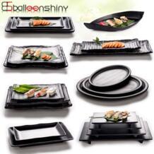 черный меламин матовый миски Детские имитация фарфора посуда Ресторан Еда Закуски суши рыба тарелка столовая посуда BalleenShiny 32837460515