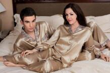 100% шелк тутового шелкопряда утолщение тяжелый шелк 6532/6535 пары пижамы с длинным рукавом No name 32771179216