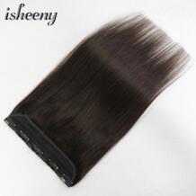 """Isheeny 14 """"18"""" 22 """"1 шт. бразильские заколки для волос Tic Tac 5 клипов Реми волосы кусок Прямой зажим в человеческих волос расширение No name 32954874734"""