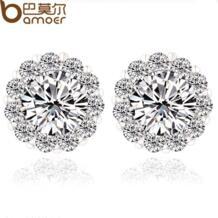 Высокое качество круглый дизайн AAA + швейцарский CZ кристалл покрынная серьги для свадьбы романтический YIE006 Bamoer 1486890045