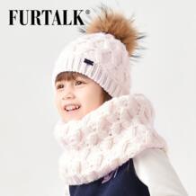 2-8 лет шерстяный зимние детские шапки и шарф вязаный комплект шапка и снуд для девочки с меховым помпоном подарки на новый год SFFW032 FURTALK 32832728861