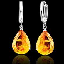 6 цветов вариант элегантный каплевидный кристалл 925 Серебряный рычаг назад женские ювелирные Сережки для свадьбы помолвки PATICO 32242197732