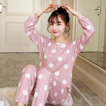 2019 Весна Пижама с длинными рукавами набор для женщин Ночная рубашка свободные милые девушки пижамы костюм осень два предмета Студенческая Повседневная одежда EJIAMEIJR 32801360940