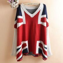 Высокое Качество Осень Зима Британский Стиль Юнион Джек Британский флаг женский свитер платье подиум роскошный бренд шерстяной свитер женский SexeMara 32706075917