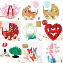 Бабочка дерево коляска 3D всплывающие карты свадебные Lover с днем рождения Юбилей Поздравительные открытки животного резки дизайн приветствовать карт ZMHEGW 32811938805