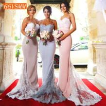 Стильные Розовые Длинные свадебные платья 2019 банкетное Свадебное Платье милое стрейчевое кружевное платье Русалка для женщин GGVSMM 32969215655