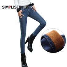 2018 зимние теплые джинсовые штаны женские утепленные бархатные джинсовые брюки Femme Джинсы Леггинсы стрейчевое большого размера 33 34 джинсы для мам guoran 32504059387