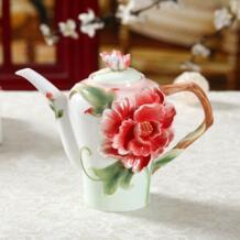 Новая Эмаль 3D penoy Керамика Кофе Чай горшок с ручкой Творческий костяного фарфора чайник Посуда для напитков No name 32793869625