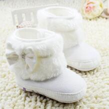 Для маленьких девочек бантом руно Снегоступы пинетки дети принцесса белые туфли для малышей Зимние ETOSELL 32426907942