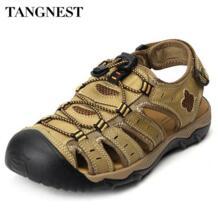 /для мужчин летние сандалии из натуральной кожи большой размеры 38 47 пляжные сандалии дышащие человек рыбак обувь сетчатые сандалии XML183 TANGNEST 32792452454