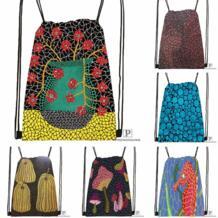 Пользовательские Yayoi Kusama походная сумка на шнурке милый рюкзак для детей (черная спинка) 31x40 см #180531-03-10 P PRENONGING 32918650539