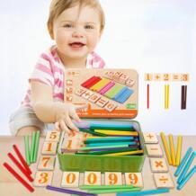 Монтессори игрушка арифметика стержней игрушка Математика деревянный карты + стержни рассчитать Игрушечные лошадки Дети Студенты подсчета игрушка с металлической коробки JOCESTYLE 32795255062