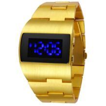 Мода Железный человек роскошные золотые синий и красный цвета Для мужчин привёл наручные Часы Творческий уникальный Дизайн платье наручные Relogio Masculino Твг 32624860253