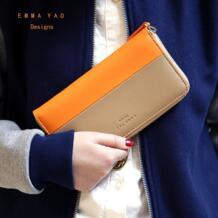 Эмма оригинальный кожаный женский длинный кожаный кошелек подходящие цвета Модный кошелек женский-in Кошельки from Багаж и сумки on Aliexpress.com | Alibaba Group EMMA YAO 886998851