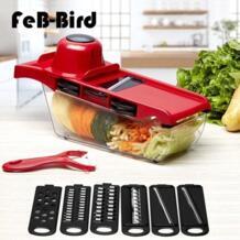 6 сменных лезвий руководство резак для овощей Терка Чоппер нож для нарезки с Овощечистка, ручной протектор, коробка для хранения No name 32869109552