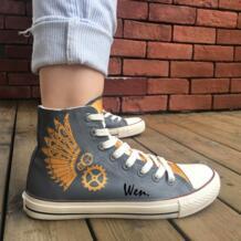 Вэнь Original ручная роспись обувь Дизайн пользовательские Паровая панк высокие Для мужчин Для женщин темно-серый холст кроссовки No name 32664204292