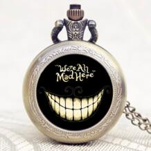 Популярный подарок Alice In Wonderland расширение мы все злимся здесь слова бронзовые карманные часы с черным чехлом YISUYA 32548119790