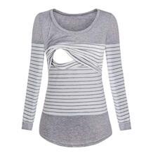 Для беременных женщин s кормящих в полоску с длинным рукавом Круглый вырез блузка для кормления грудью футболка кормящих одежда для женщин 2019 MUQGEW 32965354141