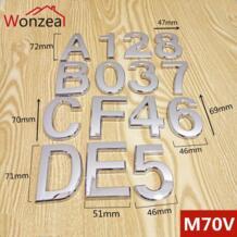 70 мм 0123456789ABCDEF Современная Серебряная Табличка номер дом отель дверь адрес стикер с цифрами табличка ABS пластик Wonzeal 32824377557