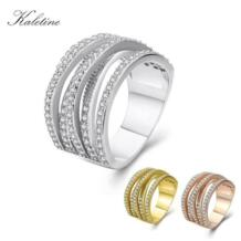 925 Solid Silver Ring KLTR019 Grade AAA Zircons Micro Pave Setting Woman Rings KALETINE 1150376946