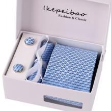 Ikepeibao персонализированное синий Для мужчин s Галстуки носовой платок запонки набор галстуков Пейсли галстуки Полосатый галстук для Для мужчин Свадебная вечеринка No name 1110023404