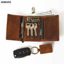 ключница из натуральной кожи мужские маленькие Кошельки Держатели ключей от автомобиля сумка для карт чехол портмоне ключница Органайзер SIMLINE 32533759886