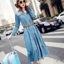 Бесплатная доставка Новое поступление Весенняя мода богемное платье для Для женщин Винтаж плиссированные Джинсы для женщин рубашка с длинным рукавом джинсовые оборками платье TIYIHAILEY 728623299